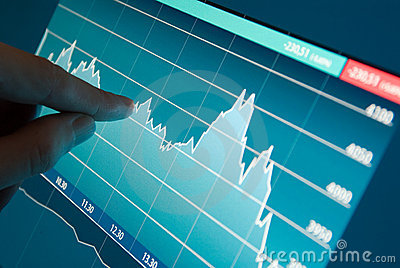 Stock market graph on monitor