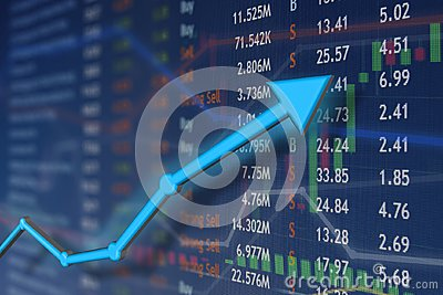 Stock market rise with blue arrow and faded candlestick charts. Winning and success emotion and happiness. Stock Photo