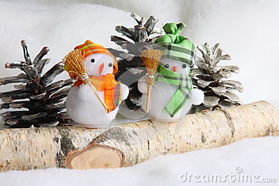 Stock Photo : Christmas Snowman Family