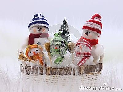 Christmas Snowman Family - Stock Photo