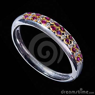 Free Stock Photo: Colorful Gems White Gold Bracelet Stock Photos - 5692683