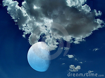 Stock photo of mystical night sky and moon