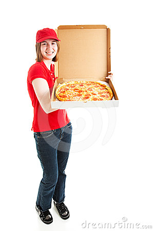 Stock Photo Of Pizza Delivery Girl - Full Body Royalty Free Stock Photo - Image: 24562195