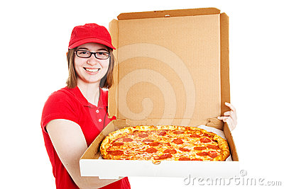 Stock Photo of Pretty Pizza Delivery Girl