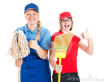Stock Photo of Teen Workers - Thumbs Up
