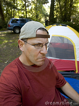 Stock Photo of an Unhappy Camper