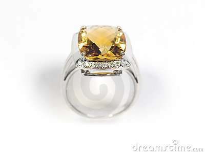 Stock photo: Yellow sapphire white gold ring
