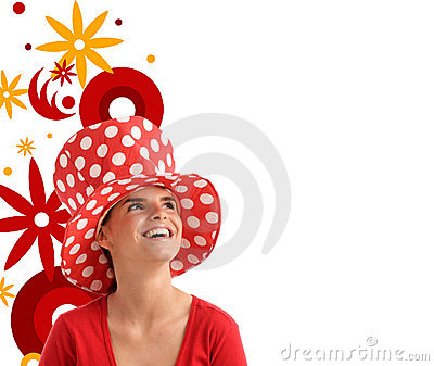 Stock photo of a young pretty woman with red hat