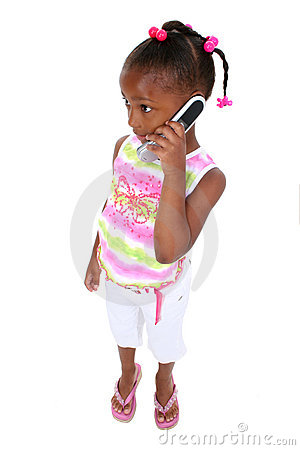 Stock Photography: Adorable Young Girl Standing With Cellphone