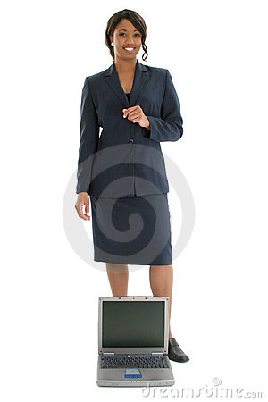 Free Stock Photography: Business Woman Behind Open Laptop Royalty Free Stock Image - 399566