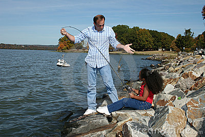 Stock Photography: Interracial Father Daughter Fishing