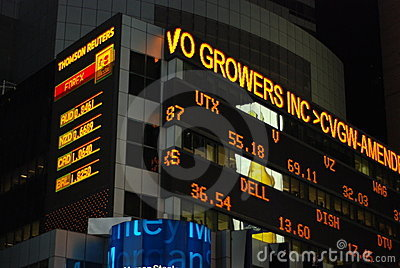 Stock ticker in Times Square Editorial Photo