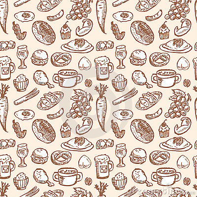 Free Stock Vector Illustration: Seamless Food Pattern Royalty Free Stock Photography - 16495317