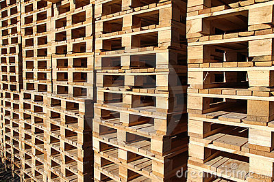 stock wood pallet under sun light