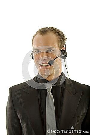 Stockbroker wearing headphones