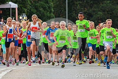 STOCKHOLM - AUG, 17: The children just after the start in the Mi Editorial Photography