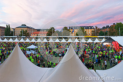 STOCKHOLM - AUG, 17: People gathering before the Midnight Run (M Editorial Stock Image