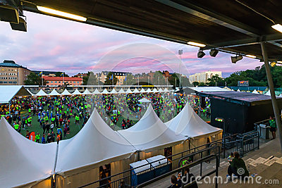 STOCKHOLM - AUG, 17: People gathering before the Midnight Run (M Editorial Image