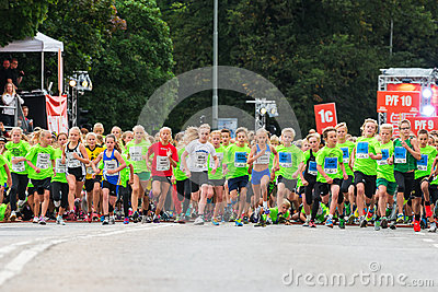 STOCKHOLM - AUG, 17: The start of one of many groups for childre Editorial Stock Image