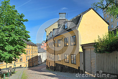 Stockholm.  Narrow street in  Sodermalm