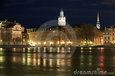 Stockholm, night view of the Gamla Stan, Sweden