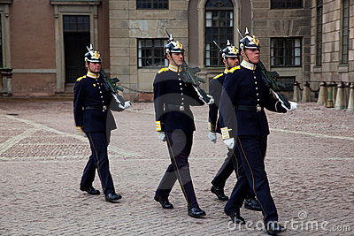 Stockholm, Sweden. A daily royal guard change. Editorial Stock Photo