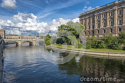 Stockholm view with Parliament Editorial Photography