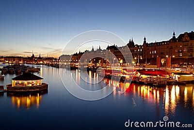 Stockholm waterfront at night.