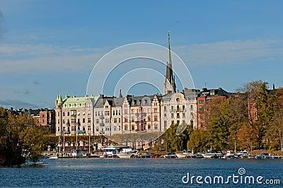 Stockholm, Zweden. Mening van Gamla Stan (de Oude Stad)