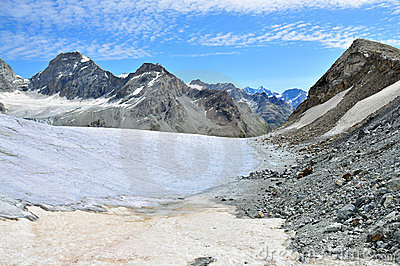 Stockji glacier Schonbielhorn and Pointe de Zinal