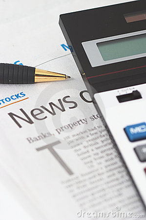 Free Stocks News, Pen, Calculator, Banks, Property Headlines Royalty Free Stock Photography - 1224737