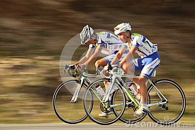 Stoenchev Valentin and Robov Momchil cyclists from Bulgaria near Paltinis Editorial Photography