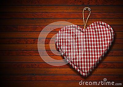 stoff herz auf brown holz hintergrund stockbild bild 33971621. Black Bedroom Furniture Sets. Home Design Ideas