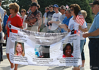 Stolen Lives Banner at Rally to Secure Our Borders
