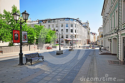 Stoleshnikov pedestrian street, Moscow Editorial Stock Photo