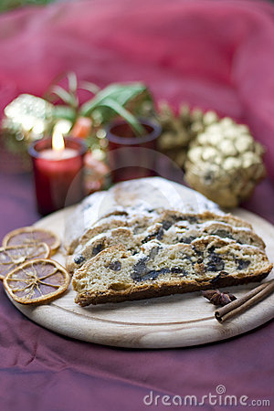 Stollen on a festive table
