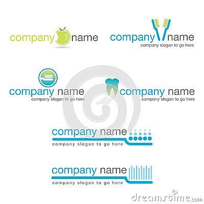 Stomatologiczni logowie ustawiają wektor sześć