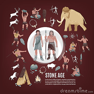 Stone Age People Icons Set Vector Illustration