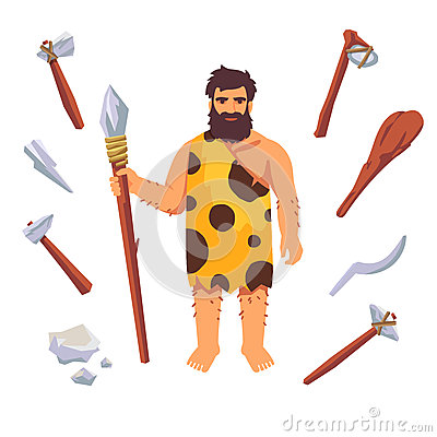 Stone Age Primitive Man Stock Vector - Image: 67525380