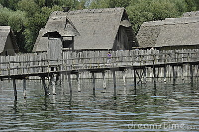 Stone Age Stilt House Village Editorial Stock Photo