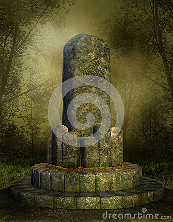 Stone altar in a forest