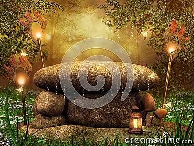 Stone altar with lanterns