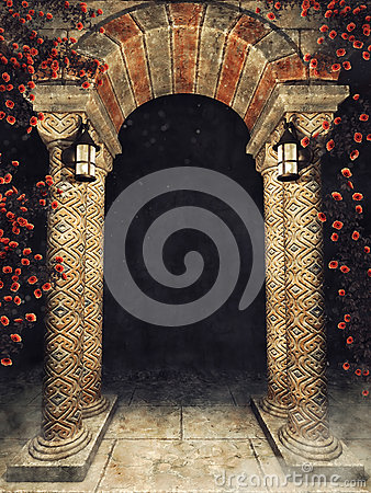 Free Stone Arch With Roses And Lamps Stock Images - 85259424