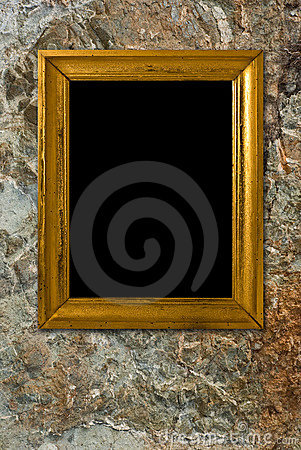 Stone background with vintage frame