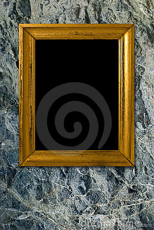 Stone background with vintage gold frame