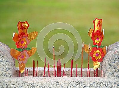 Stone Basin with Incense Sticks