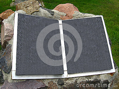 Stone book on front garden