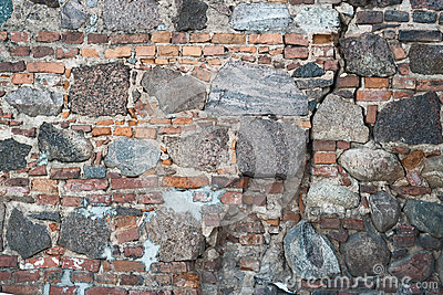 Stone and brick old wall as abstract background