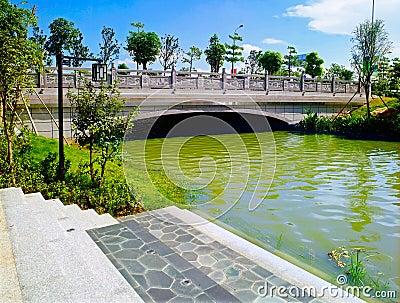 Stone bridge in garden Editorial Image