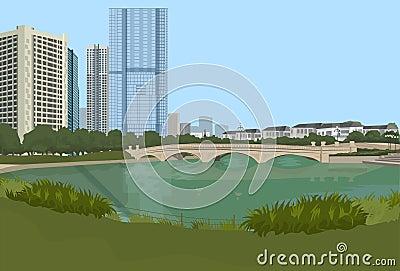 Stone bridge over river cityscape background city buildings landscape view horizontal Vector Illustration
